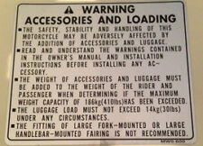 HONDA CBR900RR FIREBLADE ACCESSORIES AND LOADING CAUTION WARNING LABEL DECAL