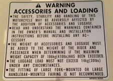 Honda CBR900RR Fireblade accessoires et le chargement de prudence étiquette d'avertissement decal