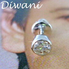 4.0mm 0.24 Ct Natural Diamond Solitaire 14k Gold Single Earring Men's Stud Ring