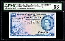 British Caribbean Specimen $2  P. 8 -8s 1964 PMG 63 Choice UNC Rare Note QEII