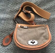 FOSSIL Small MADDOX Canvas/Leather Flap Turnlock Crossbody Purse-VERY NICE