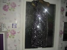 Cotton Club Dress size 14 Stretch cold shoulder  Sequinned  purple/silver  bA