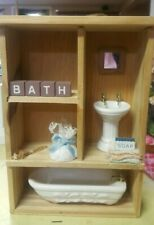 Powder Room Bath Shadowbox, natural wooden frame,  tub and sink