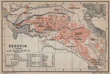 SEGOVIA antique town city ciudad plan. Spain España mapa. BAEDEKER 1913