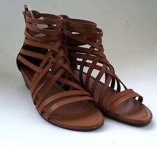 American Eagle Tan Platform Gladiator Open Sandal Shoe Heels Comfort Women sz7.5