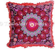 Indian Mandala Fringe Pillow Case 16x16 Bohemian Square Throw Cushion Cover Art