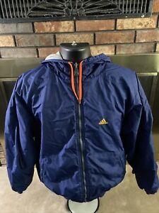 Vintage Adidas Hooded Puffer Coat Jacket Spellout Logo Mens Medium Reversible