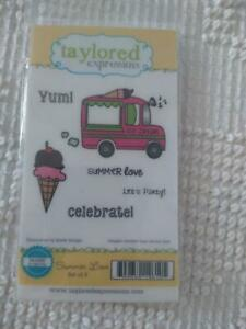 NEW TAYLORED EXPRESSIONS RUBBER EMBOSSING SUMMER LOVE 6 PC STAMP SET,ICECREAM,