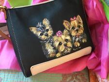 Three Yorkies Hand Painted Liz Claiborne Handbag