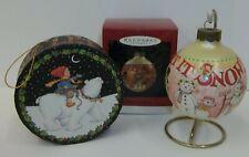 "2 Mary Engelbreit Christmas Ornaments Hallmark ""Let It Snow"" Mib & Hat Box Style"