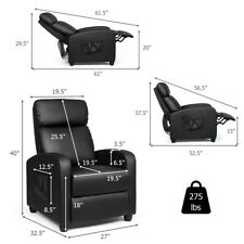 Massage Recliner Chair Single Sofa Pu Leather Padded Seat w/ Footrest Black