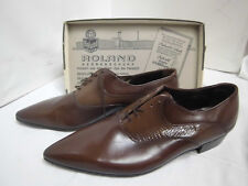 Nos roland schnürschuh marrón de cuero semi zapato True vintage talla 9,5 Shoe Vintage