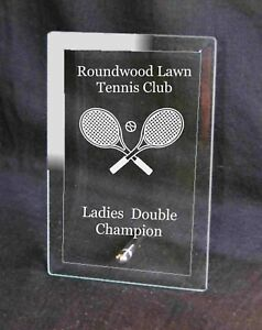 Personalised Engraved Glass PlaqueTennis Trophy Award