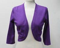 HOBBS Ladies Carrie Purple 3/4 Sleeve Open Front Bolero Cardigan Size S NEW