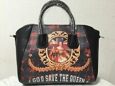 Nuova Borsa Donna Nera Bauletto Stampa Good Dave The Queen Tracolla Manici