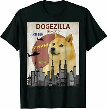 Dogezilla T-Shirt Funny Doge Meme Shiba Inu Dog Vintage Men's Black Cotton