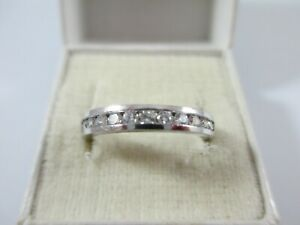 SPARKLY, PRE-OWNED 14ct GOLD CLEAR STONE 1/2 ETERNITY  RING UK SIZE P  2.5g