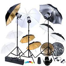 vidaXL Studio Lighting Kit 3x120W Flash Strobe Light Trigger Umbrella Stand