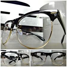 CLASSIC VINTAGE RETRO Style Clear Lens EYE GLASSES Black & Gold Fashion Frame