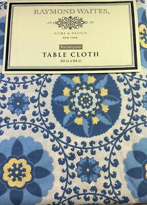Raymond Waites Floral Medallion Tablecloth Cotton Blue 60 x 84 Oblong