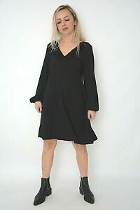 New Womens Ex Wallis Black Puff Sleeve Frill Neck Textured Smock Dress Size 8-16