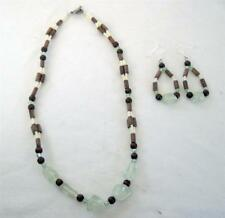"and Wood 18"" Necklace 2.5"" Loop Earrings 2 Pc Jewelry Set Lt Green Acrylic"