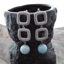M010318 12mm Round Aquamarine CZ Earrings