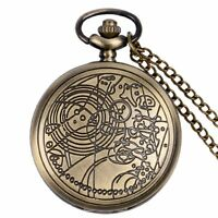 Vintage Doctor Who Quartz Pocket Watch Necklace Chain Full Hunter Pendant Gifts