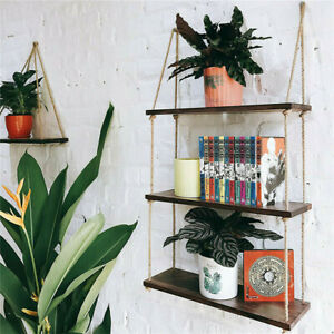 Wooden Hanging Shelf Window Wall Plant Rope Hanging Shelves for Kitchen Bathroom