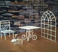 Columpio de jardín muebles Gardening muebles de jardín metal 1:12 crema nostalgia muñecas