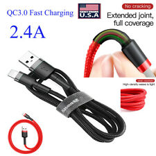 Lightning USB Data Nylon Cable Charger Heavy Duty Braided  For iPhone