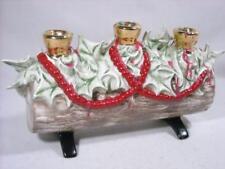 "VINTAGE CERAMIC YULE LOG 3-CANDLE HOLDER ATLANTIC MOLD CHRISTMAS 12""LONG"