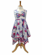 Domino Girl's 100% cotton Butterfly Patchwork Print Hanky Party Dress 3 to 11 yr