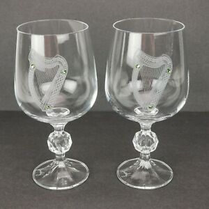 Bill Healy Irish Glasses Wine Goblets Set 2 Etched Harp Green Swarovski Ireland