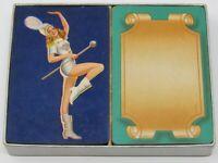 Vintage BRIDGE Double Deck Arrco Hamilton Playing Cards Box Pinup Girl Gold Edge