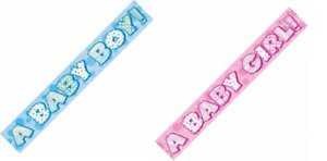 Baby Shower Party Foil Banner Bunting Boy Girl Gender Reveal Decorations Banners