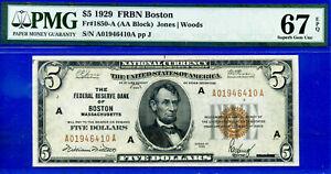 "1929 $5 FRBN (( Boston )) PMG Superb-Gem 67EPQ """" Trophy Grade """" # A01946410A."