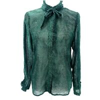 ANTHROPOLOGIE NUMPH Green Geometric Sheer Long Sleeve Blouse S M