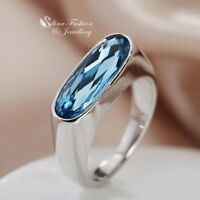 18K White Gold Filled Made With Swarovski Crystal Long Oval Cut Square Ring