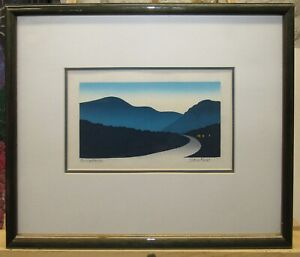 "Sabra Field 1980 Color Woodcut ""Going Home"" Listed Vermont Artist"