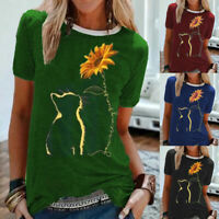 Womens Tee Casual Loose Sunflower T Shirt Blouse UK Ladies Cat Short Sleeve Tops