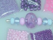 Pink Lavender Purple Handmade Lampwork Glass Crystal Seed Bead Lot 4046