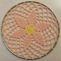 Pink & Yellow Flower Crochet Doily Wall Hanging Dream Catcher in 5 inch Ring