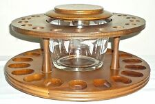 Vintage Duck pattern Glass Jar HUMIDOR w/18 space PIPE SMOKE STAND Lazy Susan