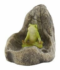 Mini Frog Meditating on Stone (4443)  NEW Miniature Dollhouse FAIRY GARDEN