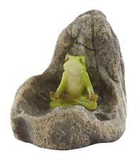 Mini Frog Meditating on Stone (4443)  NEW Miniature Dollhouse FAIRY GARDEN