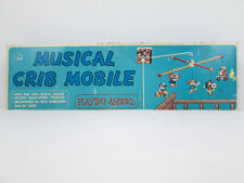 Vtg Nos Musical Baby Infant Crib Mobile Playing Around Painted Wood Children