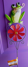 "Green Frog 24"" Yard Art Stake Garden Red Windmill Decoration"