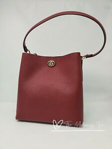 NWT Coach 55200 Pebble Leather Charlie Bucket Bag Gold/ Deep Red Crossbody $375