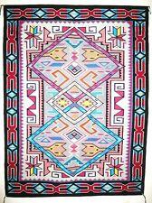 "Navajo TEEC NOS POS Wool Rug LRG 54"" x 74"" Hand Woven Native American MJ White"